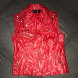 Red leather vest
